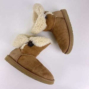UGG Bailey Button II Suede Boots Chestnut Color